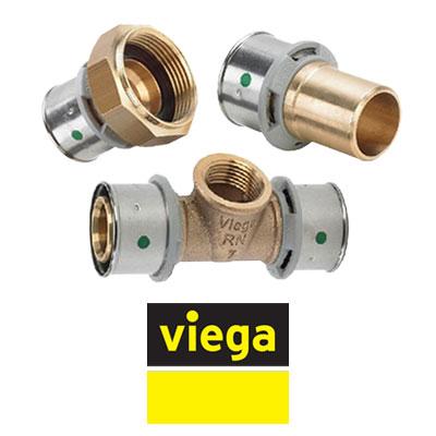 Фитинги VIEGA Pexfi  серия 2700 бронзовые для PE-X труб, пресс соединение
